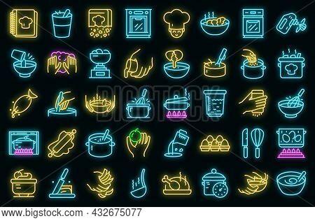 Hands Preparing Foods Icons Set. Outline Set Of Hands Preparing Foods Vector Icons Neon Color On Bla