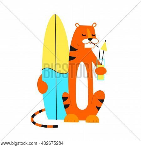 Tiger In Cartoon Style. Happy New Year 2022. Chinese Horoscope. Vector Isolated Illustration. Summer