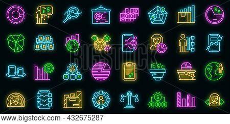 Market Segmentation Icons Set. Outline Set Of Market Segmentation Vector Icons Neon Color On Black