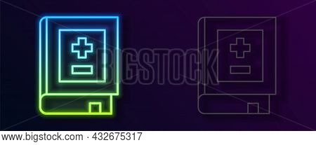 Glowing Neon Line Book With Mathematics Icon Isolated On Black Background. Math Book. Education Conc