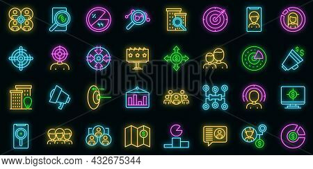 Target Audience Icons Set. Outline Set Of Target Audience Vector Icons Neon Color On Black