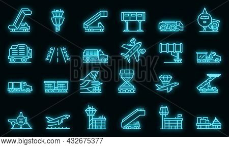 Airport Ground Support Service Icons Set. Outline Set Of Airport Ground Support Service Vector Icons