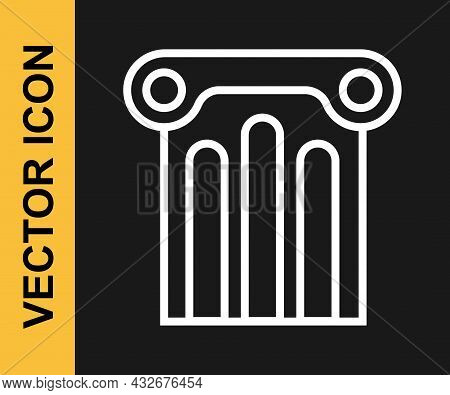White Line Ancient Column Icon Isolated On Black Background. Vector