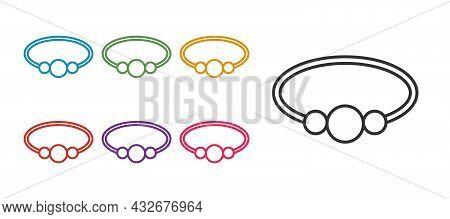 Set Line Bracelet Jewelry Icon Isolated On White Background. Bangle Sign. Set Icons Colorful. Vector