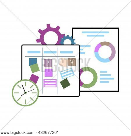 Concept Process Management To Do Task, Reach To Goal In Business, Planning And Control Project, Vect