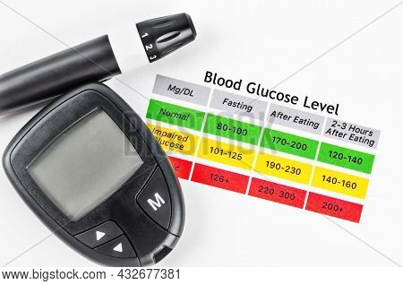 The Diabetic Measurement Or Fast Accurate Blood Glucose Meter On Blood Glucose Level Table.