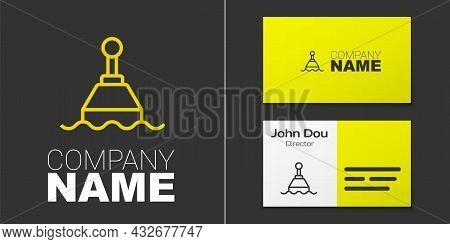 Logotype Line Floating Buoy On The Sea Icon Isolated On Grey Background. Logo Design Template Elemen