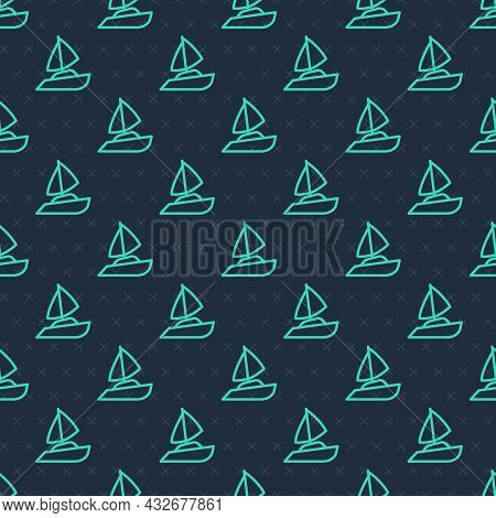 Green Line Yacht Sailboat Or Sailing Ship Icon Isolated Seamless Pattern On Blue Background. Sail Bo