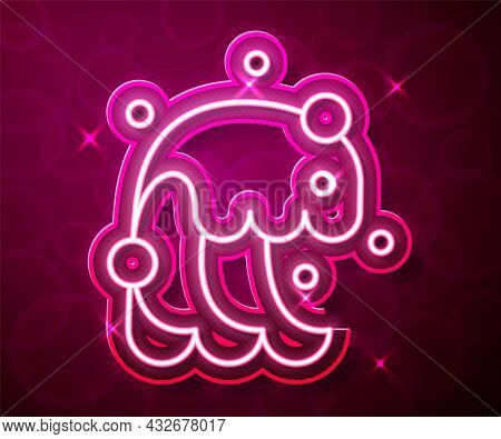 Glowing Neon Line Tsunami Icon Isolated On Red Background. Flood Disaster. Stormy Weather By Seaside