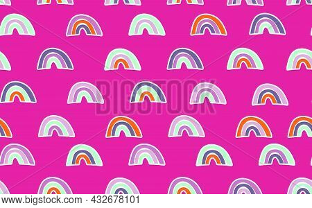 Trendy Seamless Pattern With Colorful Rainbow On Color Background. Design For Invitation, Poster, Ca