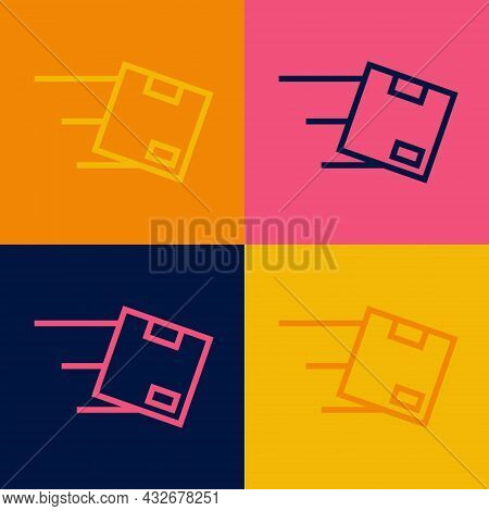 Pop Art Line Location With Cardboard Box Icon Isolated On Color Background. Delivery Services, Logis