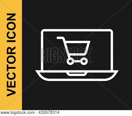 White Line Shopping Cart On Screen Laptop Icon Isolated On Black Background. Concept E-commerce, E-b