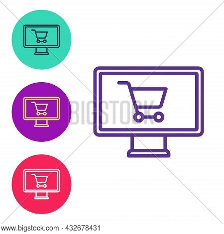 Set Line Shopping Cart On Monitor Icon Isolated On White Background. Concept E-commerce, E-business,