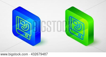 Isometric Line Phone Book Icon Isolated Grey Background. Address Book. Telephone Directory. Blue And