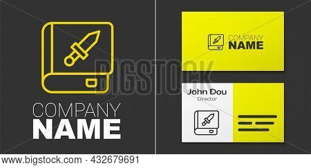 Logotype Line Book About Weapon Icon Isolated On Grey Background. Small Firearm. Weapon Catalog. Log