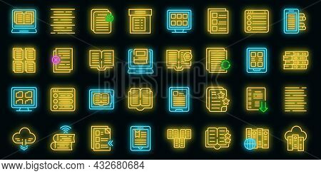 Electronic Catalogs Icons Set. Outline Set Of Electronic Catalogs Vector Icons Neon Color On Black