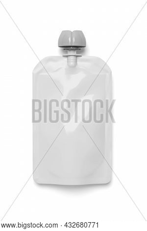 White Empty Plastic Pouch For Baby Food, Fruit Puree, Yogurt Isolated On White Background. Mock-up T