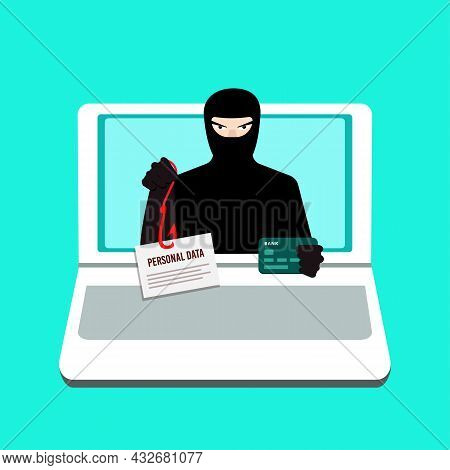 Phishing. A Computer Hacker Who Steals Money And Personal Data On The Internet. Web Crime With Passw