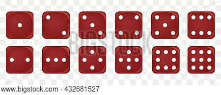 Dices Gamble Gaming Monochrome. Poker Cubes Vector Set