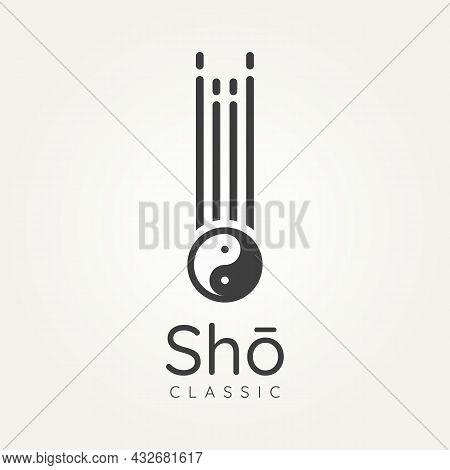Sho Japanese Classical Music Instrument With Yin Yang Symbol Minimalist Line Art Logo Icon Template