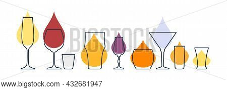 Set glasses with champagne, red wine, vodka, beer, liquor, whiskey, martini, rum and tequila. Shot glass drinks. Template alcohol beverage for restaurant, bar. Symbol party. Different drinks. Isolated flat illustration on white background.