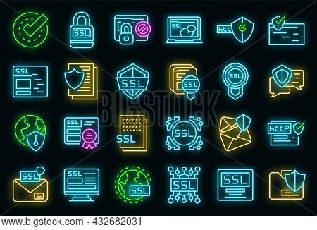 Ssl Certificate Icons Set. Outline Set Of Ssl Certificate Vector Icons Neon Color On Black