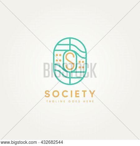 Letter S Abstract Feminine Minimalist Line Art Badge Icon Logo Template Vector Illustration Design