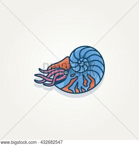 Isolated Nautilus Pompilius Seashell Template Vector Illustration Design
