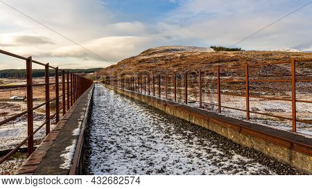 A Snow Covered Old Railway Viaduct At The Big Water Of Fleet At The Cairnsmore Of Fleet National Nat