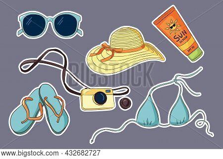 Hand Drawn Vacation Sticker Set. Sunglasses Bikini, Flip Flops, Photo Camera, Sunscreen Tube, Womans