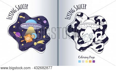 Ufo And Cat Astronaut In Space Coloring Page. Flying Saucer And Spaceman Animal In Stars. Cartoon St