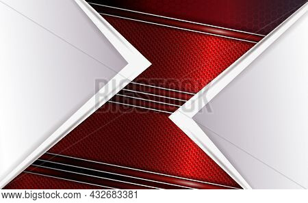 Dark Geometric Design, White Corner With An Arrow, Slanting Red Textured Curtains With A Border.
