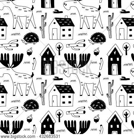 Doodle Elk Seamless Patten. Hand Drawn Line Scandinavian Style Black And White Background, Scandi Fo