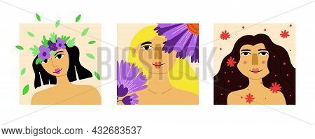 Girl Flower Portrait Set. Beautiful Pretty Female Face With Blossoms, Lady Smiling, Card Or Poster.