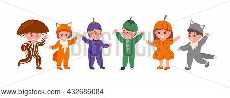Set Of Kids In Funny Animal Or Vegetable Costumes Isolated Flat Vector Illustration. Happy Children
