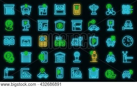 Paid Parking Icons Set. Outline Set Of Paid Parking Vector Icons Neon Color On Black