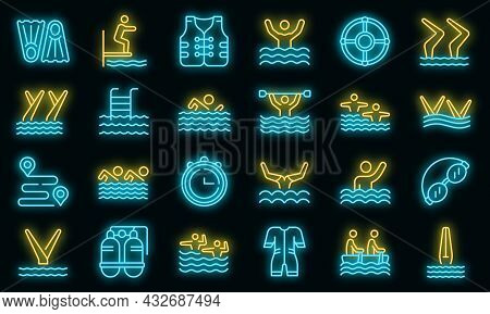 Synchronized Swimming Icon. Outline Synchronized Swimming Vector Icon Neon Color On Black