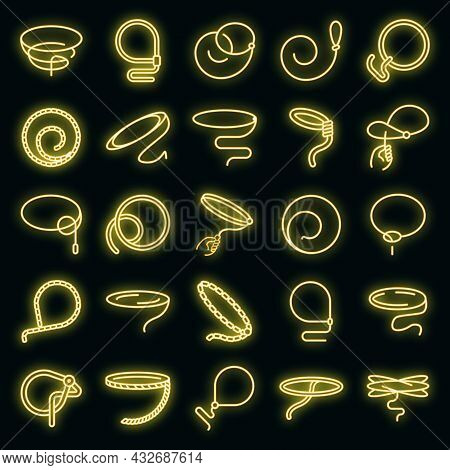 Lasso Icons Set. Outline Set Of Lasso Vector Icons Neon Color On Black