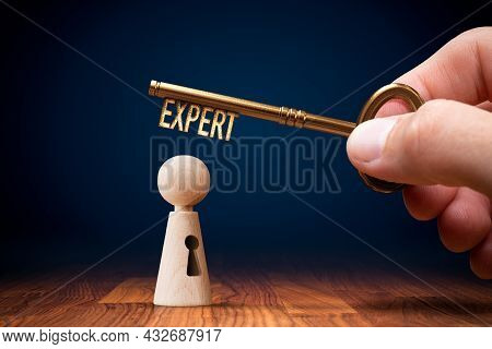 Unlock Your Potential To Be Expert, Concept With Key. Specialty Improvement And Personal Development