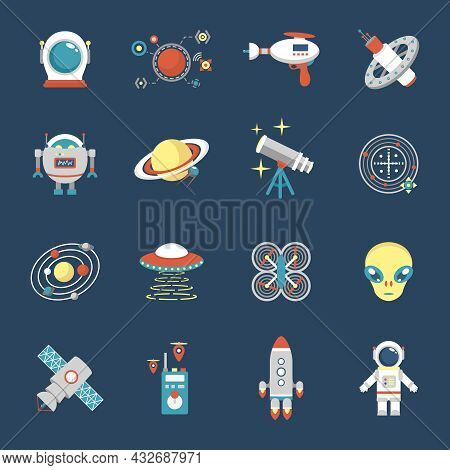 Fiction Icon Set With Aliens Space Shuttle Cyborg Weapons Isolated Vector Illustration