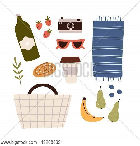 Picnic Concept. Set With Basket, Food And Other Picnic Essentials. Hand Drawn Vector Illustration