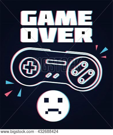 Vector Joysticks Gamepad. Mocking Lettering Game Over. Stylish Wallpaper For Your Smartphone And Com