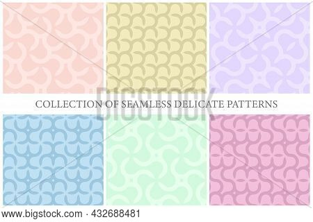 Collection Of Vector Colorful Seamless Geometric Patterns - Delicate Trendy Design. Vibrant Curly Ba