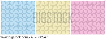 Set Of Vector Colorful Seamless Geometric Patterns - Delicate Design. Vibrant Curly Backgrounds, End