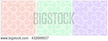 Set Of Vector Colorful Seamless Geometric Patterns - Delicate Creative Design. Vibrant Curly Backgro
