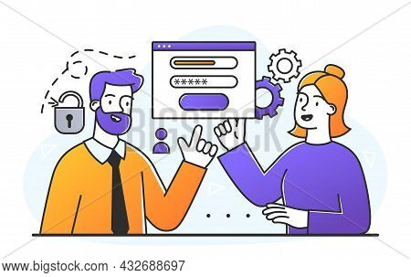 Woman Register Online. Man Helps User To Create An Account On Website. Technical Support, Faq, Consu