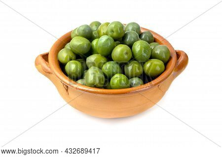 Sicilian Green Olives In A Terracotta Bowl On A White Background