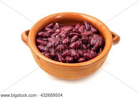 Kidney Beans In A Terracotta Bowl On A White Background