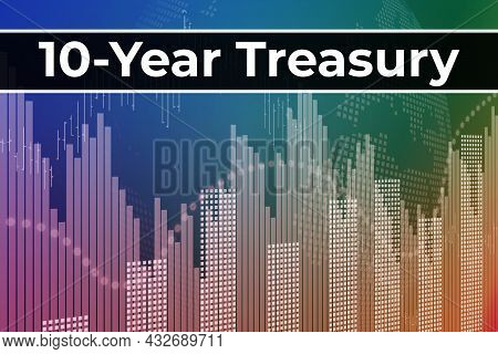Price Change On Trading Bonds 10-year Treasury On Blue Finance Background From Graphs, Charts, Colum