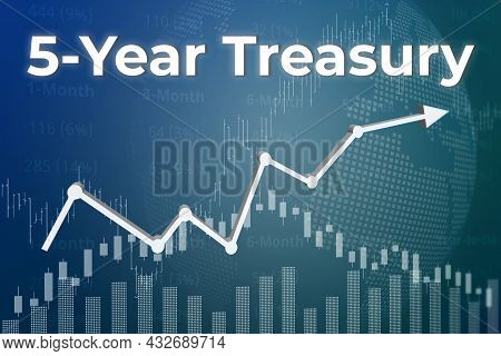 Price Change On Trading Bonds 5-year Treasury On Blue Finance Background From Graphs, Charts, Column